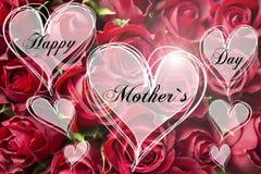 Kort för moder för form för hjärta för lycklig för moder` s text för dag dekorativt blom- med röda rosor Royaltyfri Bild