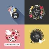 Kort för moderdag med nätta fåglar, sortiment av blommor stock illustrationer