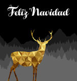Kort för navidad för spanska hjortar för jul guld- lågt poly Royaltyfri Foto
