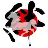 Kort 2014 för nya år för häst Royaltyfria Foton