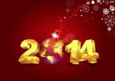 Kort för nytt år 2014 royaltyfri illustrationer