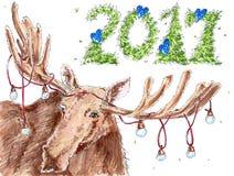 Kort för nytt år 2017 stock illustrationer