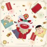 Kort för nytt år 2017 för lejon- och pojkeflicka lyckligt kinesiskt Royaltyfri Fotografi