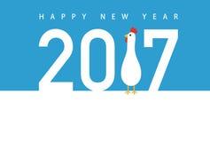 Kort för nytt år för tupp Arkivfoton