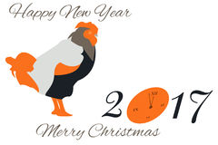 Kort för nytt år för vektor med en tupp och en klocka i orange signaler Royaltyfri Fotografi