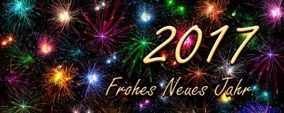 Kort för nytt år Frohes 2017 Neues Jahr (det lyckliga nya året) Arkivbilder