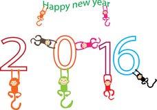 Kort för nytt år med apan för året 2016 vektor illustrationer