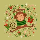Kort för nytt år med apan, illustrationer Royaltyfria Foton