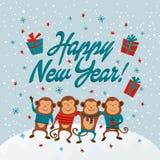 Kort för nytt år med apor och det lyckliga nya året för text, illustrationer Arkivbilder