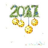 Kort för nytt år med guld- bollar stock illustrationer