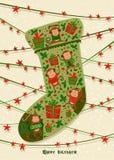 Kort för nytt år med julsockan, illustrationer Goda för kalender-, anteckningsbokräknings-, affisch- eller partiinbjudningar Royaltyfria Foton