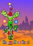 Kort för nytt år med kaktuns Arkivfoton