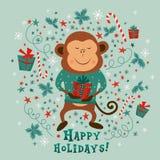 Kort för nytt år med lyckliga ferier för apa och för text, illustrationer Arkivbild
