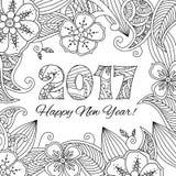 Kort för nytt år med nummer 2017 på blom- bakgrund Arkivbilder