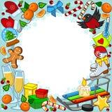 Kort för nytt år med objekt stock illustrationer