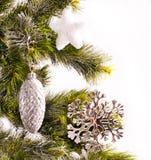 Kort för nytt år med päls-treen Royaltyfri Fotografi