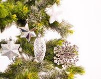 Kort för nytt år med päls-treen Arkivfoton