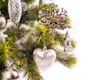 Kort för nytt år med päls-treen Royaltyfria Bilder