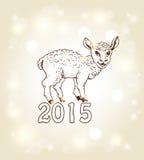 Kort för nytt år med yeanling Royaltyfri Foto