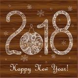 Kort 2019 för nytt år på trät Royaltyfri Bild