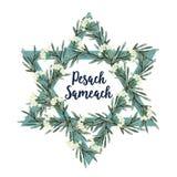 Kort för Pesach påskhögtidhälsning med den judiska stjärnan, hand drog olivgröna filialer och blommor leaves för illustration för royaltyfri illustrationer