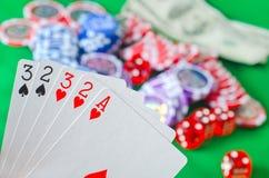 Kort för poker Arkivbilder