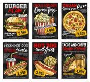 Kort för pris för snabbmatrestaurangmeny på svart tavla stock illustrationer