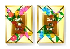 Kort för räkningsdesigninvintation som består av geometriska former av trianglar, mångfärgade blommor och grönt ris med leavesn royaltyfri illustrationer