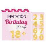 Kort för rosa färger för inbjudannummerflicka Arkivbild