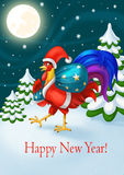 Kort för ` s för lyckligt nytt år för ferie Santa Claus Rooster med en påse av gåvor nytt år för beröm Stock Illustrationer