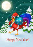 Kort för ` s för lyckligt nytt år för ferie Santa Claus Rooster med en påse av gåvor nytt år för beröm royaltyfri illustrationer