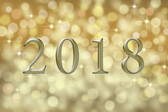 Kort för ` s för nytt år 2018 med guldabstrakt begreppbakgrund royaltyfria foton