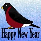 Kort för ` s för nytt år med en domherre royaltyfri illustrationer