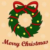 Kort för ` s för nytt år med en julkrans vektor illustrationer