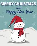 Kort för ` s för nytt år med en snögubbe royaltyfri illustrationer