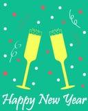 Kort för ` s för nytt år med exponeringsglas av champagne royaltyfri illustrationer