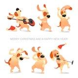 Kort för ` s för nytt år med rolig hundkapplöpning som dansar, sjunger och spelar gitarren vektor illustrationer