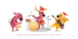 Kort för ` s för nytt år med rolig hundkapplöpning som spelar musikinstrument Arkivbild