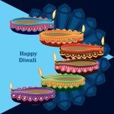 Kort för sida för lycklig diwaliblåttlampa färgrikt vektor illustrationer