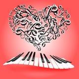 Kort för St-valentinförälskelse med hjärtor och pianotangenter Musik av lov Royaltyfri Fotografi