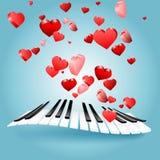 Kort för St-valentinförälskelse med hjärtor och pianotangenter vektor för symbolsförälskelsemusik Arkivfoton