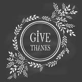 Kort för tacksägelsedag på svart tavla Arkivfoto