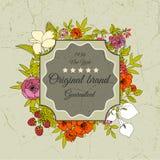Kort för tappninghälsningvektor med blommor och Royaltyfri Fotografi