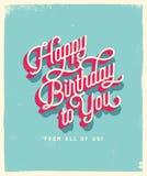 Kort för tappningstilfödelsedag - lycklig födelsedag till dig från alla oss eps10 blommar yellow för wallpaper för vektor för kli stock illustrationer