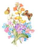 Kort för tappningvattenfärghälsning med att blomma blommor stock illustrationer