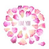 Kort för tappningvattenfärghälsning med blom- kronblad Älska dig med stället för din text Royaltyfri Bild