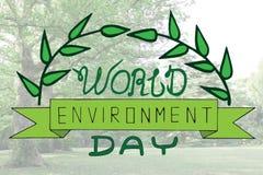 Kort för text för dag för världsmiljö med leaveson suddighetsbackgrounen Royaltyfria Bilder