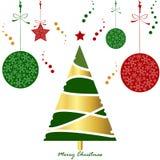 Kort för träd för jul för ljus guldgräsplan rött med snöflingabollen och Royaltyfri Foto