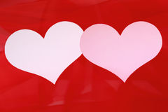 Kort för två hjärta för valentin eller bröllop. Arkivfoton