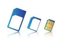 Kort för uppsättning för mobiltelefonsimkort normal-, mikro och nano sim, stock illustrationer